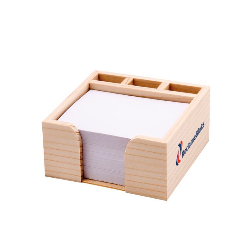 Houten kubusblok met pennenbak
