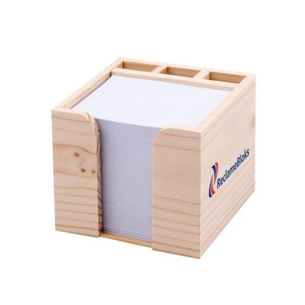 Houten kubusblok met pennenvakje